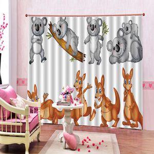 Desenhos animados da panda canguru 3D cortina para sala de estar Quarto cortinas Blackout Interior Decor customizável qualquer tamanho