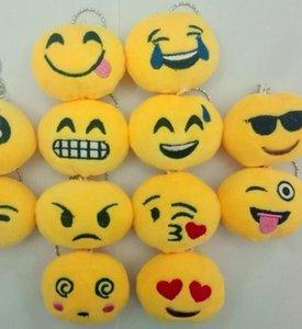 Emoji Keychain seis centímetros Emoji Key Anel Emoção amarelo QQ expressão Stuffed Plush Doll Toy Mobile Bag Pingente chaveiro novo GGA2841