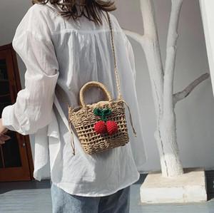diseñador de lujo bolsas de paja bolsos monederos cereza niñas bandolera bolsa de playa vacaciones en la playa hermosa