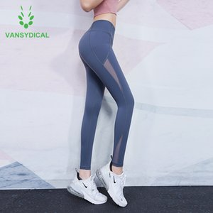 Vansydical High-waist Mesh Yoga Pants Women Stretch Squat Proof Gym Tights Tummy Control Running Fitness Workout Sports Leggings