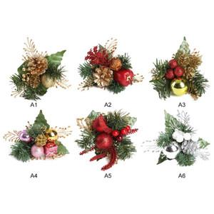 Flores da árvore de Natal Pinheiro Artificial Falso Cone Gift Box Natal Topper Ornamento da flor da grinalda do feriado Home Decor Inverno
