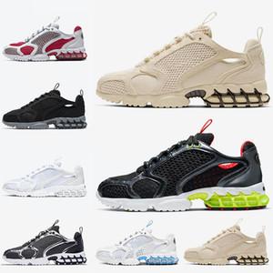 Stussy x Nike Air Zoom Spiridon Cage 2 Venda quente Sand Lemon Venon Mens Running Shoes Branco Preto Cardeal Vermelho Mulheres Designer Formadores Sapatilhas