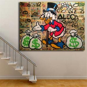 Alec monopole cartoon ente tapete wandkunst leinwand poster drucke ölgemälde wandbilder für büro schlafzimmer wohnkultur