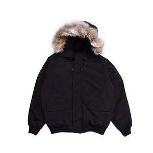 Revestimento do inverno dos homens do estilista para baixo Parkas Mulher Casacos Rib luva Big Fur com capuz clássico Man Down Jacket Masculino Brasão Lobo gola de pele