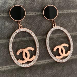 Alta calidad de gran letra diamante grande ovalada pendientes de gota inoxidable 316L oro 18k rosa de acero negro de las mujeres cuelgan de boda al por mayor de la fábrica