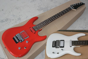 Factory Custom Red&White Electric Guitar With Floyd Rose Bridge,Chrome Hardware,24 Frets,Can be customized
