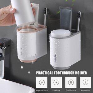 Ecoco escova de dentes da cremalheira fixada na parede da Magnetic porta-escovas de Banho Escova de Dentes Organizador da Copa