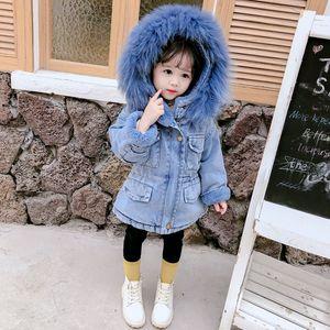 Winter Girls Denim Jacket Children Cotton Hooded Windbreaker Kids Plus Thick Velvet Warm Hooded Fur Collar Parkas Outwear