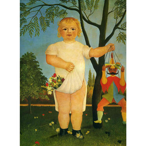 Canvas art animal Paintings by Henri Rousseau Child with a Puppet Landscapes artwork for bedroom decor Gift