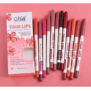M. n MENOW Marka Makyaj Gerçek Dudaklar 12 Renk Dudak Kalemi Suya Profesyonel Dudak Kalemi Kozmetik Araçları