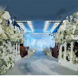 Белый пластик римского колонна Забор Дорога Руководство Реквизит Искусственный цветок стенд ваза с цветочной композицией для свадебного фона