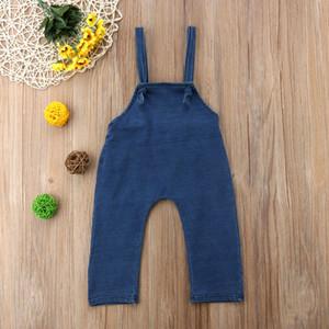 Yaz Bebek Çocuk Kız bebekler Jeans Mavi Kısa Moda Sling Kolsuz Denim tulum Dungarees'de Kıyafetler Tulumlar tulumları