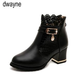 Botas para mujer otoño invierno 2019 Zapatos hueco cordón de la manera de las señoras hacia fuera la mujer del cuero atractiva del tobillo cargadores para las mujeres Botas Mujer 966