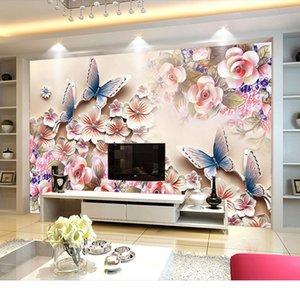 현대 거실 침실 식당 구제 배경 화면 5D 스테레오 대형 화면 따뜻한 배경 화면 나비 꽃
