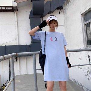 فتاة جميلة مصمم للمرأة قميص فساتين 20S صيف جديد تي شيرت فضفاض فساتين نساء العلامة التجارية المحملة اللباس 5 ألوان الحجم S-2XL YF204111