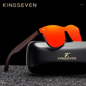 KINGSEVEN 2020 Handmade Walnut Holz Brillen polarisierten Spiegel-Sonnenbrille Männer Frauen Vintage Design masculino UV4001