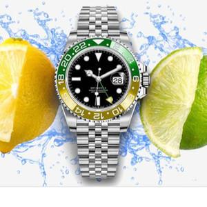 Nuovo movimento di lusso del Mens orologio automatico GMT Orologi arancioni lunetta in ceramica di vetro dello zaffiro solido acciaio inossidabile Chiusura Men Orologi da polso