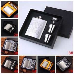 7 Unzen im Freien beweglichen Edelstahl-Hüfte-Flasche Set Kleine Taschen-Wein-Flaschen-Set mit Weinglas Trichtern Anpassbare Hip Flask DH1314
