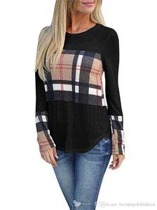 Tasarımcı Tişört Ekose Baskılı Marka Uzun Kollu Moda Lüks Kadınlar Giyim Casual Bahar Bayanlar Tshirts Womens