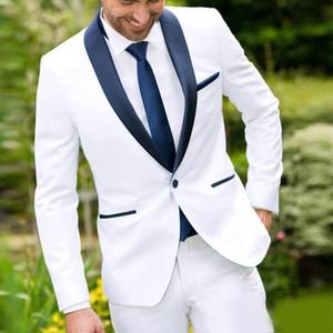 2020 Traje para hombre Blanco con Negro mantón de la solapa del padrino de juego de la chaqueta + pantalones por encargo del smoking del novio mejor juego del hombre para la boda