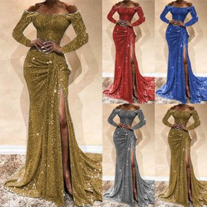 2020 European and American ladies and women's evening gown burst models long-sleeved dress