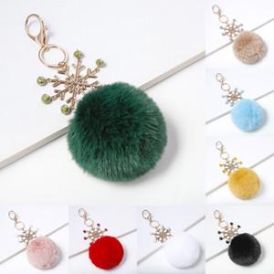 Freie DHL-9 Styles Pom Pom Keychain Pelz-Kugel-Schneeflocke Keychain Fluffy Schlüsselring-Zusätze für Frauen Weihnachtsgeschenke