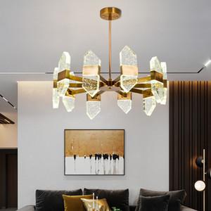 Crystal chandelier lighting for hotel villa living room bedroom foyer contemporary  gold pendant lights led hanging lamps