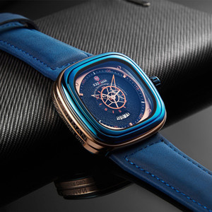 2019 Luxo Homens Relógios New Fashion Square quartzo relógio marca de topo KADEMAN Casual Couro Relógios de pulso Negócios Relogio Masculino CJ191217