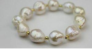 encantadora pulseira branca pérola do mar sul de 15-15mm 7.5-8inch