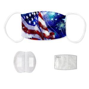 Маски для взрослых Unisex Хлопок лица с фильтром моющихся многоразового дышащей маски Американского флага Печатного пыле маска