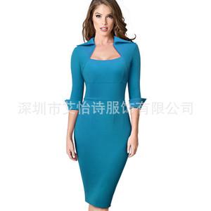 Business OL Womens Slim Dresses Spring Autumn Skinny Solid Color Womens Designer Dresses Long Sleeve Lapel NecK Bodycon Dresses