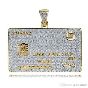 2019 Newest Europe and America VISA VIP card shape personality hip hop necklace with high quality Zircon Pendant unisex necklace wholesale