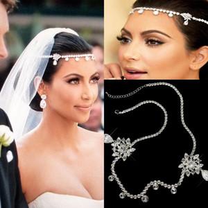 Vente Hot Kim Kardashian Coiffes pour soirée de mariage Sparkly Cristaux Tiaras Couronnes de luxe Handwork tête Chaînes AL2506 bijoux de mariée