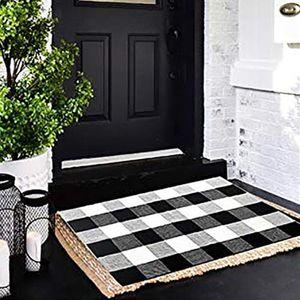 Tappeto Zerbino Tappeti all'aperto per Buffalo Plaid Front Porch Layered Zerbini a scacchi in flanella di cotone Entry Way stratificazione Mats T200415