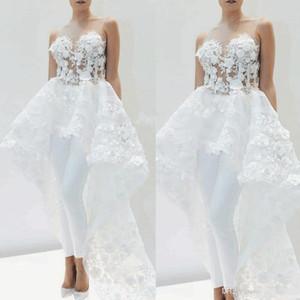 Lace Applique Macacões nupcial com trem por Mulheres Elegant 2020 destacável Floral 3D Saia casamento branco Pant Suit Vestido