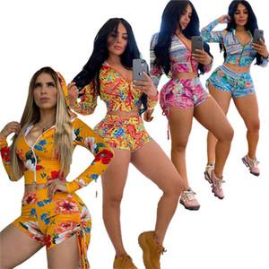 Sommer-Frauen Blumen Shorts Set Blumen mit Kapuze Jacke Reißverschluss-Mantel und Kordelzug Shorts Zwei Stück Anzug Outfits Cloth Set D52206LY