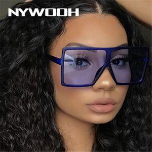 NYWOOH Vintage Sunglasses Women Men Oversize Sun Glasses Female Retro Brand Big Frame Red Eyewear UV400