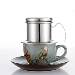New Kaffeefiltrierapparat Edelstahl vietnamesischen Kaffee Drip-Filter Einzel Schale Kaffeetropf Pot Brewer - Tragbare Paperless für