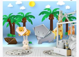 Rigami Art Wall Pictures Print Animales de dibujos animados Grúa de papel Niños Decoración de pared Mural