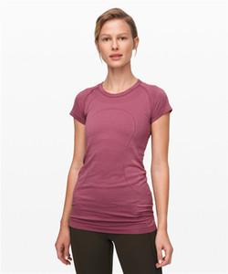 Лу-57 новый летний йога топы сплошной женщины стремительно тек коротким рукавом футболка работает спортзал одежды фитнес-тренировки спорт бег рубашки