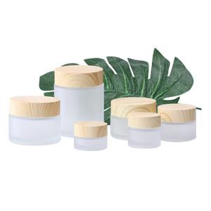 Bouteilles en verre givré crème Jar ronde cosmétique Pots Bouteilles d'emballage visage main 5g 10g 15g 30g 50g 100g Jars Avec Grain de bois couverture