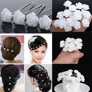 Kadınlar Şapkalar süsler için 20pcs / Takım Wedding Gelin Saç Aksesuarları Parlak Beyaz Çiçek Saç iğneler Klip