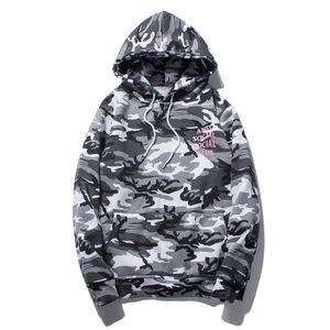 Homens Grey Camouflage Carta Imprimir Hoodies Outono Camo Inverno Fleece Pullover Moda Hip Hop Streetwear Hoodie Casual
