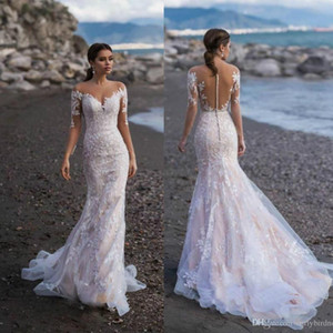Playa de encaje de manga larga de la sirena de los vestidos de boda apliques de barrido tren vestido de novia más el tamaño de vestidos de novia vestido de novia Vestidos de