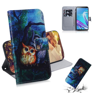 Oil Painting Owl Pattern Coloured Drawing Horizontal Flip Leather Case for Asus Zenfone Max Pro ZB601KL, with Holder & Card Slots & Wallet