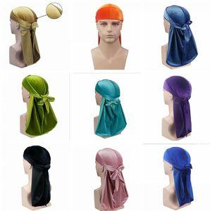 Kadife Premium Durag (24 Renkler) 360 Dalgalar Ekstra Uzun Askılar Erkekler Için Peruk Doo Durag Biker Şapkalar Kafa Korsan Şapka Du-Rag Cosplay Şapka