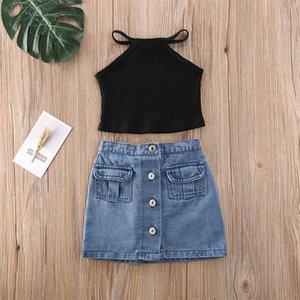 Menoea Ragazze Set di abbigliamento 2020 capretti di estate Carino vestiti vestiti della ragazza vestiti Solid Button Breve Demin Skirt Girls Outfit 2 pezzi