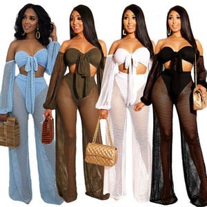Ins web celebridade estilo quente ins hot estilo sexy de uma palavra de colarinho largo-perna calças conjunto de duas peças S-XL
