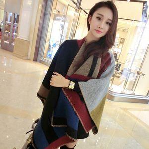 Scialle da donna vintage oversize grande blocco di colore sciarpa di lana cashmere inverno all'aperto mantello caldo festa di Halloween GTA TTA1785
