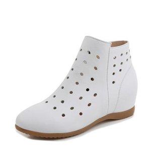 2020 Nueva Primavera Verano hueco superior de cuero de vaca botas de cuero Aumentar Dentro de la cuña del tobillo de las mujeres cargadores frescos los zapatos de moda casual